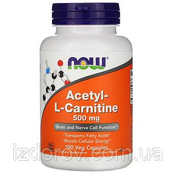 Now Foods, Ацетил-L-Карнітин, Acetyl L-Carnitine, жіросжігателя для схуднення, 500 мг, 100 рослинних капсул