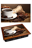 "Поднос на подушке ""Кофе, холст, шоколад"", фото 1"
