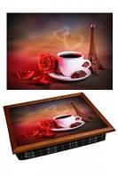 "Поднос на подушке ""Кофе, роза, Эйфелева башня"", фото 1"
