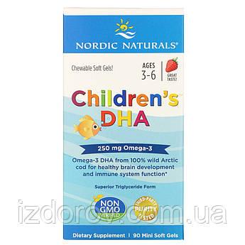 Nordic Naturals, Children's DHA, ДГК для детей (Омега 3), клубника, 250 мг, 90 мягких миникапсул