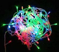 Гирлянда светодиодная 100 LED светодиодов новогодняя на прозрачном силиконовом проводе разноцветная