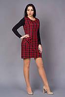 Стильное платье в красную клетку из костюмной ткани и вставками из трикотажа