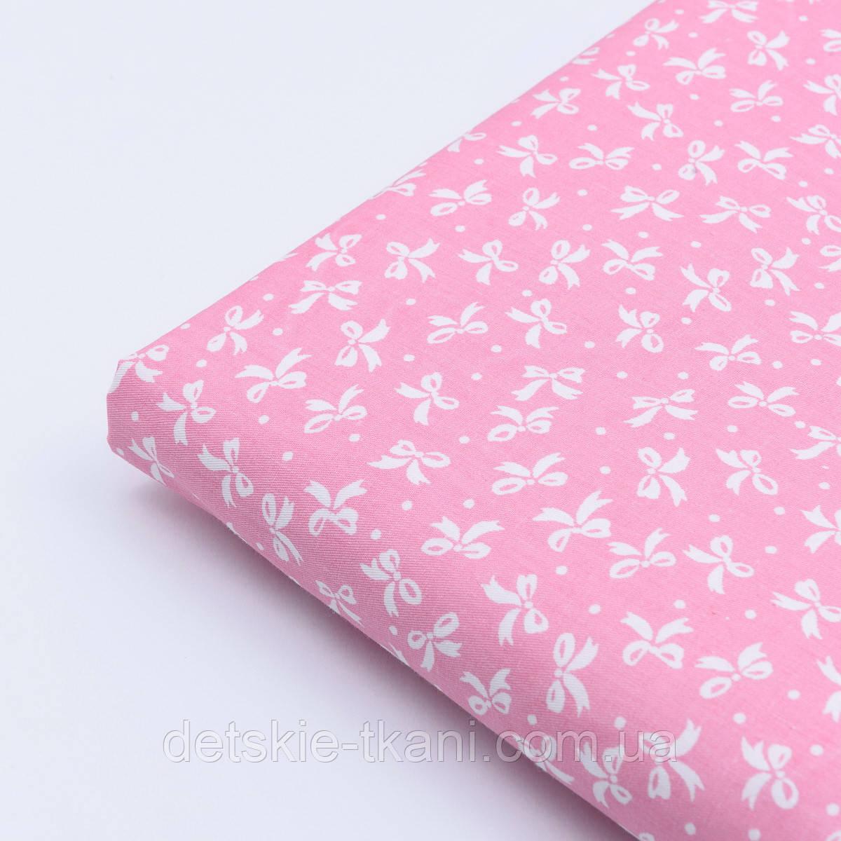 """Відріз сатину """"Густі бантики і точки"""" білі на рожевому, розмір 60 * 160 см"""