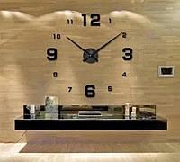 Часы настенные 3D DIY Clock Большие с цифрами Черные Стрелка 31 см Необычные 3Д Наклейка стикер дома и офиса
