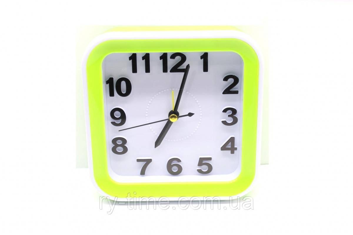 *Кварцевий будильник 075 Green (007094), 13*13*4.5 див.