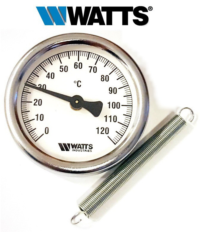 Термометр накладной WATTS TAB-63/120 (F+R810) с пружиной (63мм, 0-120°С)