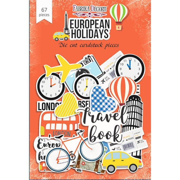Чипборд (висікання) Фабрика Декору папір 250г/м European holidays, набір 67 шт FDDCS-04036