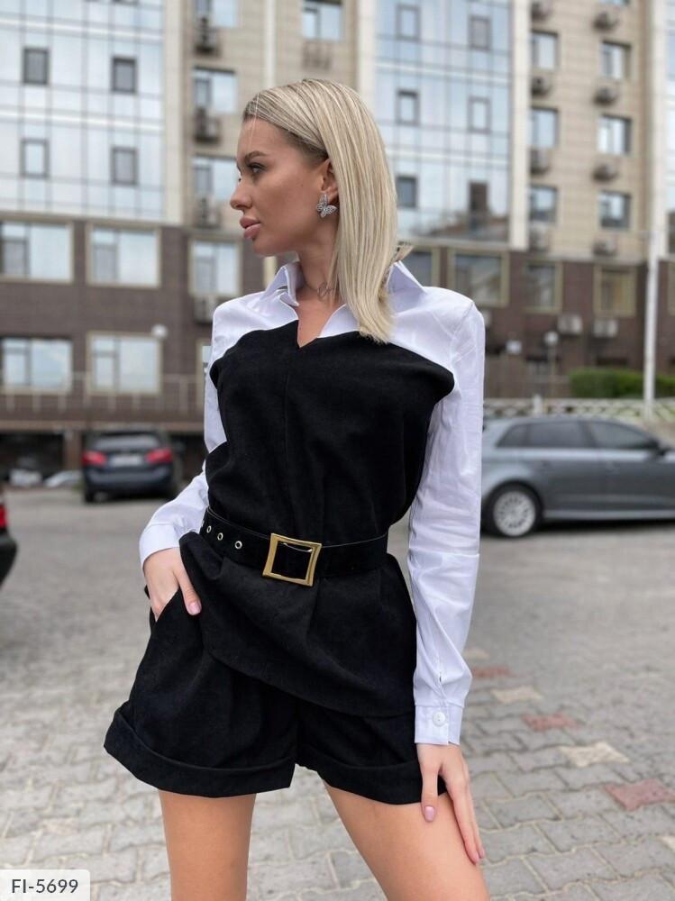 Женский костюм с шортами и блузкой