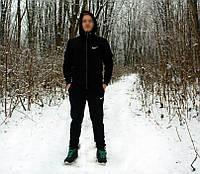 Теплый зимний спортивный костюм Nike с капюшоном черный