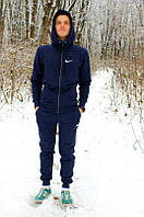 Теплый зимний спортивный костюм Nike на молнии с капюшоном синий