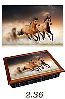 """Поднос на подушке """"Пара лошадей - коричневая двойка"""", фото 1"""