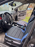 Чехлы на сиденья ВАЗ Лада 2110 (VAZ Lada 2110) модельные MAX-L из экокожи Черно-синий