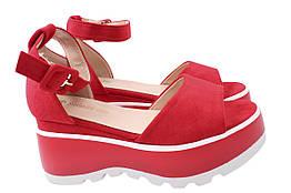 Босоножки женские стильные на платформе, красные Stefanya Nina