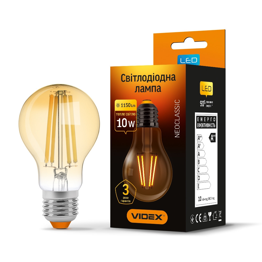 LED лампа винтажная VIDEX Filament A60FA 10W E27 2200K бронза