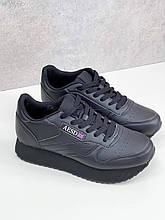 Стильные кроссовки женские черные эко-кожа