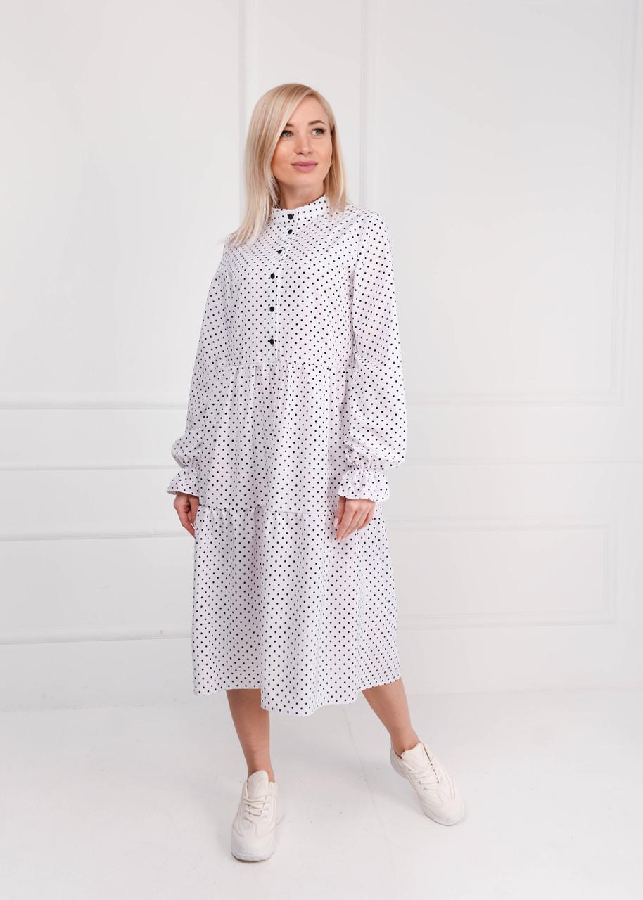 Платье женское миди белый горох