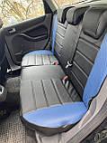 Чохли на сидіння Рено Кангу (Renault Kangoo) (модельні, MAX-L, окремий підголовник) Чорно-синій, фото 2