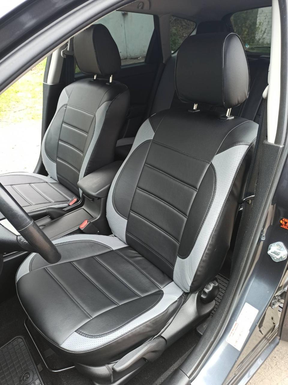 Чехлы на сиденья Шевроле Авео Т200 (Chevrolet Aveo T200) модельные MAX-L из экокожи Черно-серый
