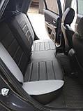 Чехлы на сиденья Шевроле Авео Т200 (Chevrolet Aveo T200) модельные MAX-L из экокожи Черно-серый, фото 3