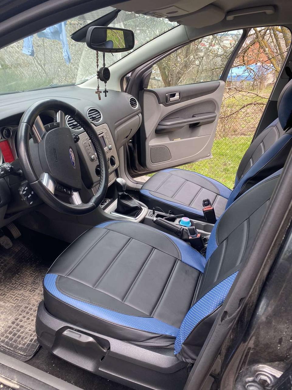 Чехлы на сиденья Пежо 107 (Peugeot 107) модельные MAX-L из экокожи Черно-синий