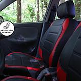 Чехлы на сиденья БМВ Е46 (BMW E46) модельные MAX-L из экокожи Черно-красный, фото 3