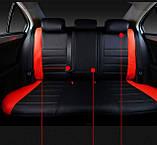 Чехлы на сиденья Опель Вектра С (Opel Vectra C) модельные MAX-L из экокожи Черно-красный, фото 2