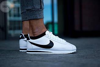 Мужские кроссовки Nike Cortez Classic (бело-черные) спортивные летние кроссы 196PL