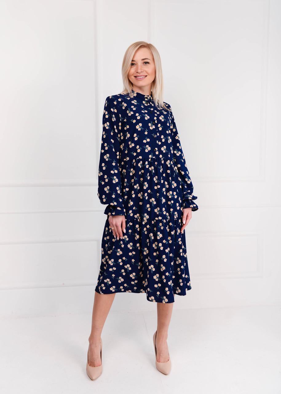 Платье женское миди синее цветы