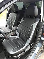 Чохли на сидіння Мітсубісі Лансер 9 (Mitsubishi Lancer 9) модельні MAX-L з екошкіри Чорно-сірий, фото 1