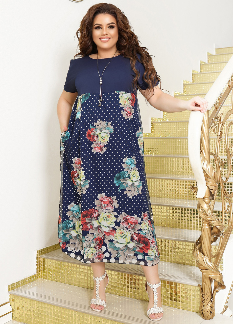 Нарядное платье свободного кроя большого размера
