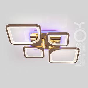 Люстра светодиодная с пультом VK39047-2+2-TL GD Люстра квадратная 120 Вт.