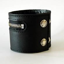 Браслет кожаный на молнии с внутренним карманом