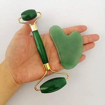 Jade roller Скребок гуаша и массажный роллер из нефрита