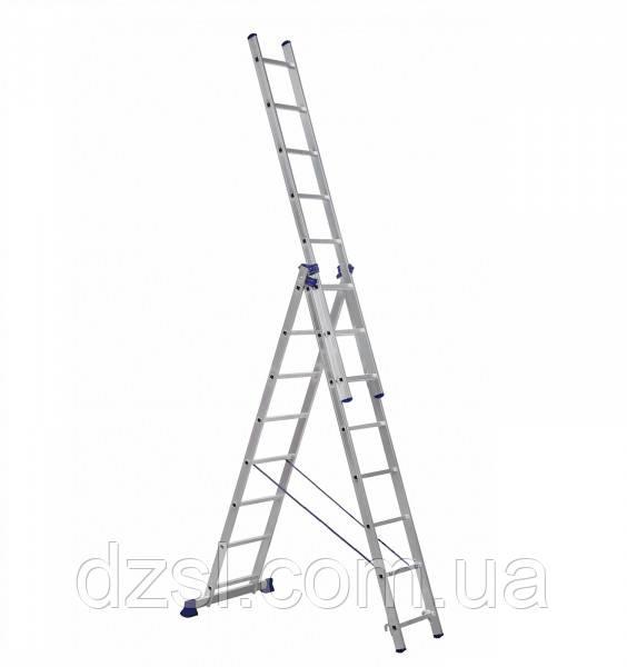 Драбина алюмінієва трисекційна універсальна 3 х 8 ступенів