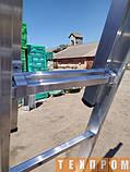 Драбина алюмінієва трисекційна універсальна 3 х 8 ступенів, фото 9