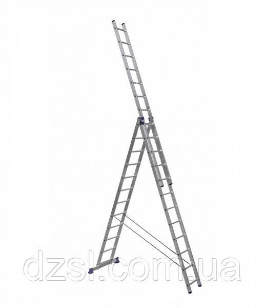 Драбина алюмінієва трисекційна універсальна 3 х 12 ступенів