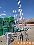 Драбина алюмінієва трисекційна універсальна 3 х 12 ступенів, фото 8