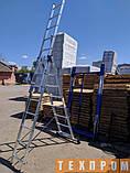 Драбина алюмінієва трисекційна універсальна 3 х 12 ступенів, фото 9