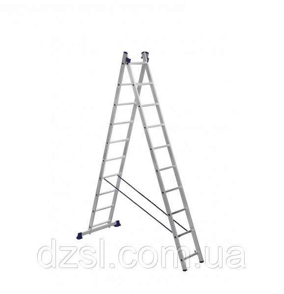 Драбина алюмінієва двосекційна універсальна 2 х 10 ступенів