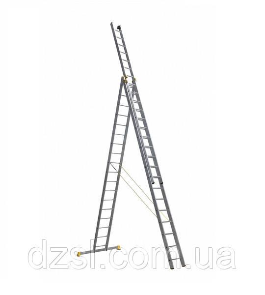 Сходи професійна алюмінієва трисекційна універсальна 3 х 18 ступенів