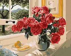 """Картина по номерах """"Троянди на підвіконні"""" (AC12115)"""