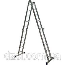 Лестница четырехсекционная шарнирная трансформер 2 x 4 + 2 x 5 ступени