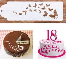 """Трафарет для торта """"Бабочки"""" - размер 33*10см, пищевой пластик"""