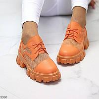 """Жіночі літні туфлі на тракторній підошві Помаранчеві """"Sabrina"""", фото 1"""
