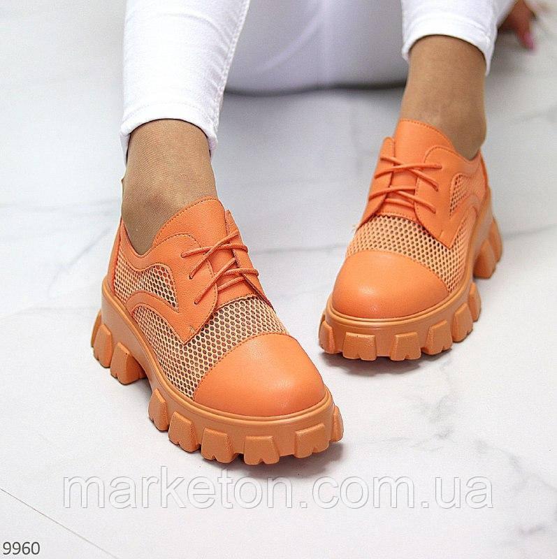 """Жіночі літні туфлі на тракторній підошві Помаранчеві """"Sabrina"""""""