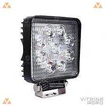 Світлодіодна фара LED (ЛІД) квадратна 27W, 9 ламп, вузький промінь 10/30V 6000K   VTR