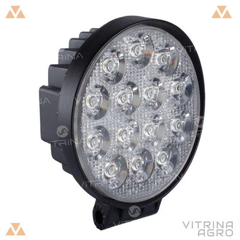 Светодиодная фара LED (ЛЕД) круглая 42W, 14 ламп, узкий луч 10/30V 6000K | VTR