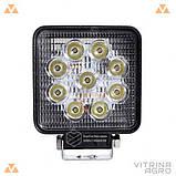 Светодиодная фара LED (ЛЕД) квадратная 27W, 9 ламп, широкий луч 10/30V 6000K | VTR, фото 2