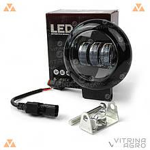 Светодиодная фара LED (ЛЕД) круглая 30W (3 диода) black, противотуманная | VTR  HP-GZD-037/W