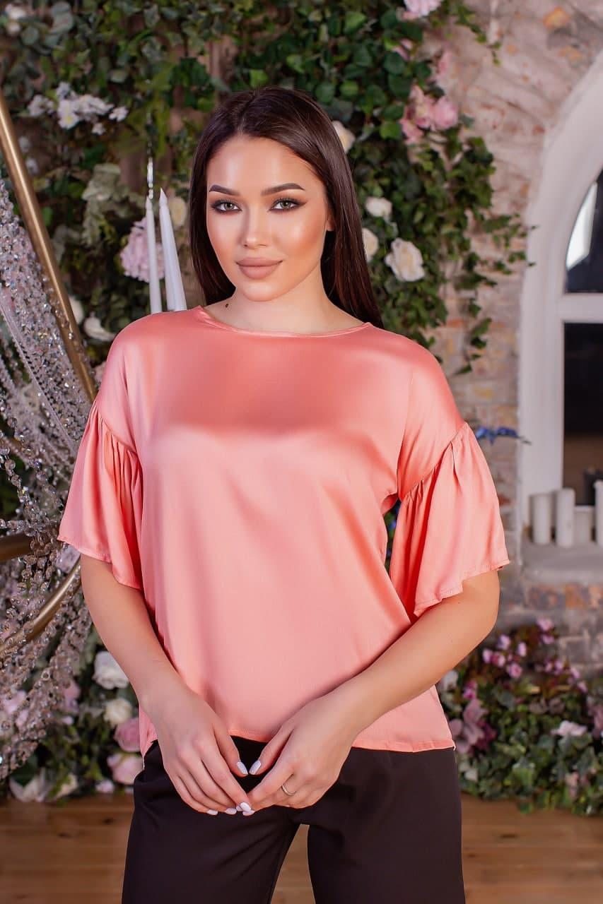 Элегантная шелковая блуза с открытой спинкой (42-48)